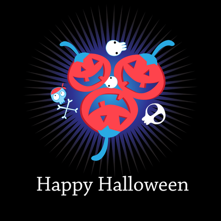 Congratulatory Halloween card with funny red pumpkins on a dark background