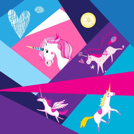 Festive background with unicorns on geometric colored background