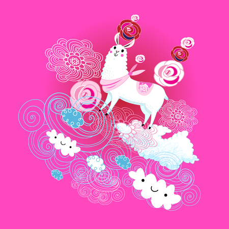 Vector animal Alpaca on pink background with clouds and flowers