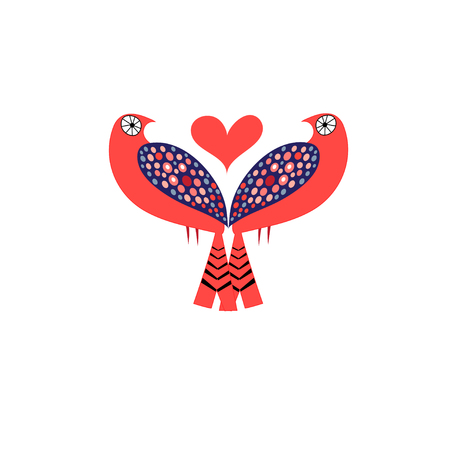 Bright Vector love birds with hearts on a white background