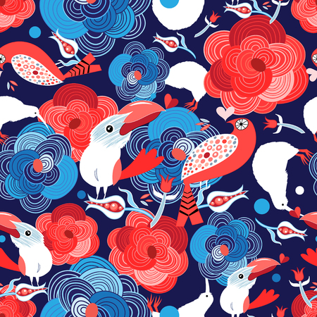 Seamless bright pattern with flowers and birds in love and hearts on a blue background. Illustration