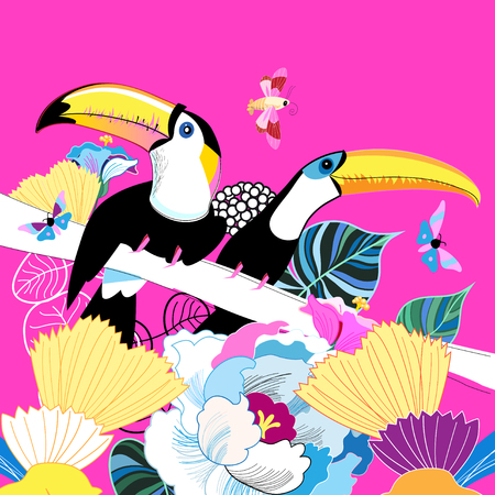 Graphics color funny birds toucans on a floral background