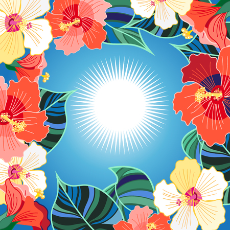 Bright floral vector background with different hibiscuses exotic tropic Stock Illustratie