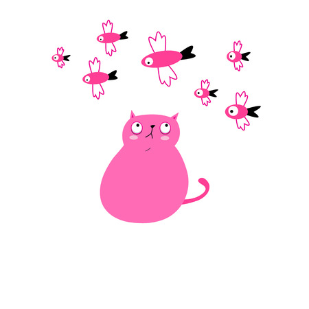 Big funny pink cat with fish on a white background