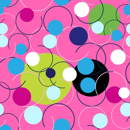 Seamless Abstract bright pattern of circles and curls on a pink background Stock Vector - 127823471