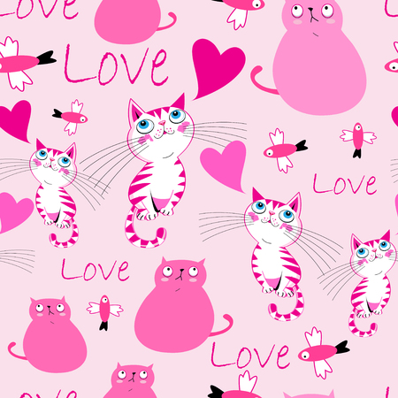 Festive bright pattern with cats in love and hearts on pink