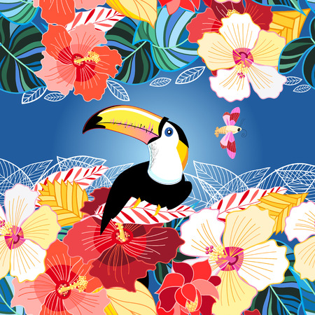 Vector color beautiful toucan poster among exotic flowers