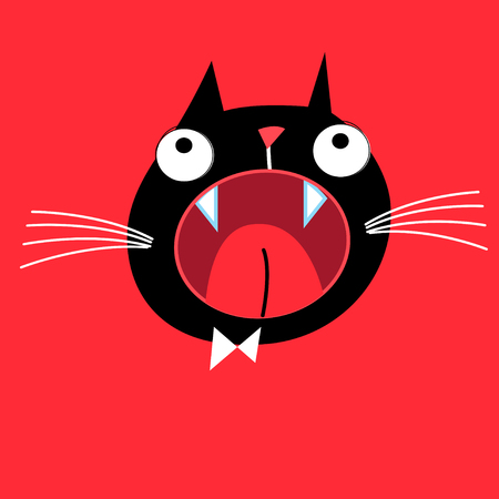 Bright vector portrait of a screaming cat on a red background