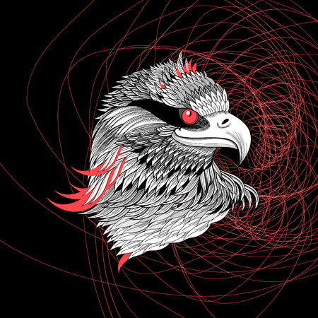 Vector gorgeous graphic portrait of an eagle on a dark background