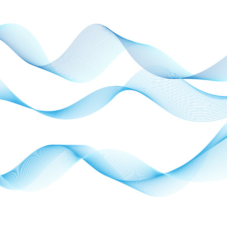 Fine vector blue wave isolate on white background