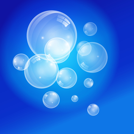Graphic vector transparent bubbles on a blue background. For layout of brochures, design flyers, cover Ilustração