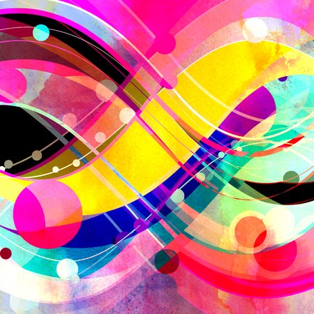 Abstract ornament colored background with wavy elements