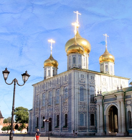 Photo of an old orthodox church in Russian city in summer