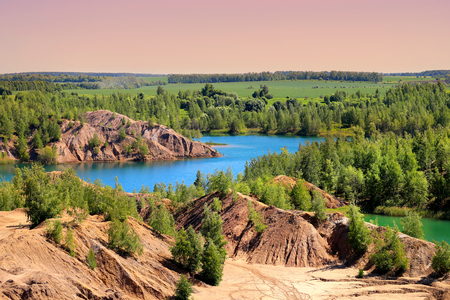Photo of beautiful blue lakes in Tula region Russia in the hot summer