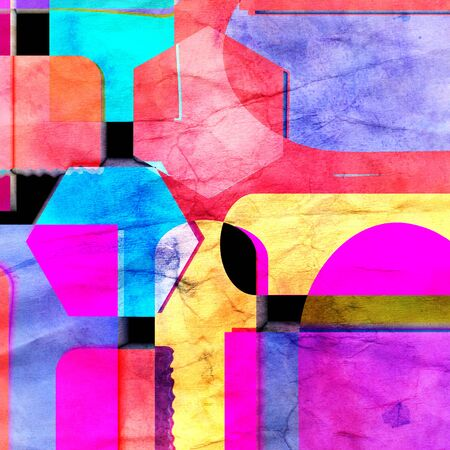 Watercolor retro color abstract geometric background. An example for the design of posters postcards Stok Fotoğraf