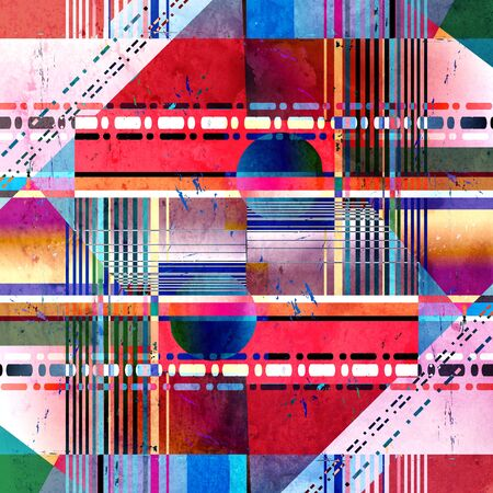 Abstract watercolor bright retro background with geometric different circles and rectangles