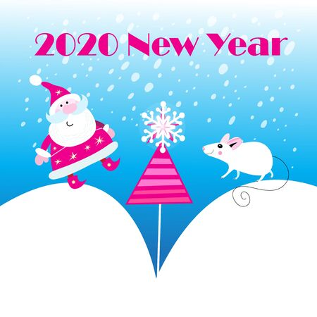 Vector New Years holiday card with a white mouse and Santa Claus on a blue background. Illustration