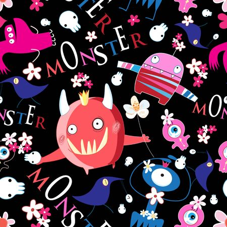 Seamless bright funny Halloween pattern of monsters on a dark background with skulls Иллюстрация