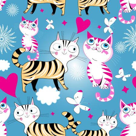 Seamless cartoon funny vector pattern of cats in love on a light background Иллюстрация