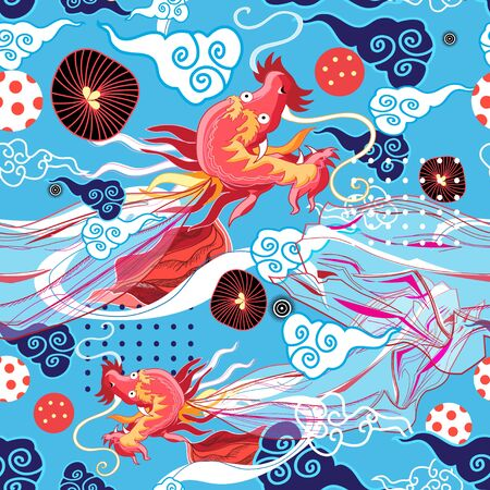 Seamless graphic bright chinese pattern with red dragon and clouds on blue background Stock fotó