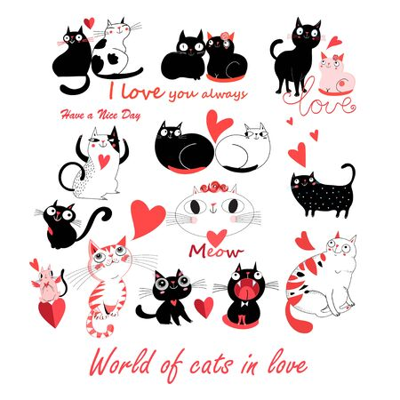 Vector festive funny set of enamored cute cats on a white background. Templates for the design of books, the background for advertising.