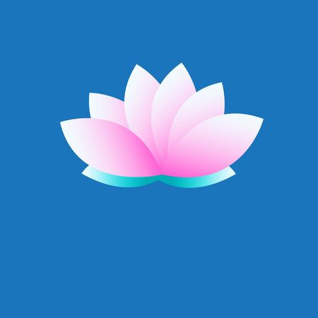 Vector symbol pink lotus on blue background Illusztráció
