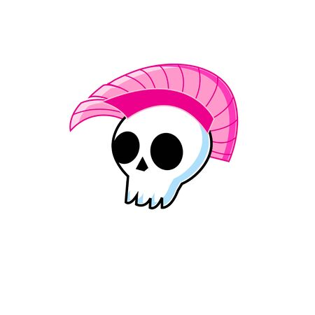Vector funny symbol white skull with punk mohawk isolated on white background