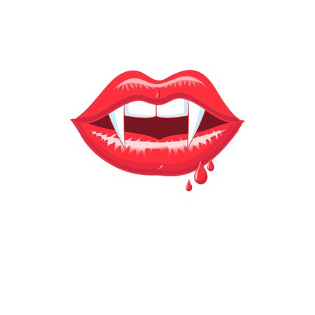 Vector red shiny vampire lips isolated on white background. Symbol for poster, postcard or flyer. Illustration