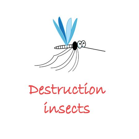 Illustration vector symbol funny mosquito insect isolated on white background. Sample design for packaging, greeting cards or business cards.