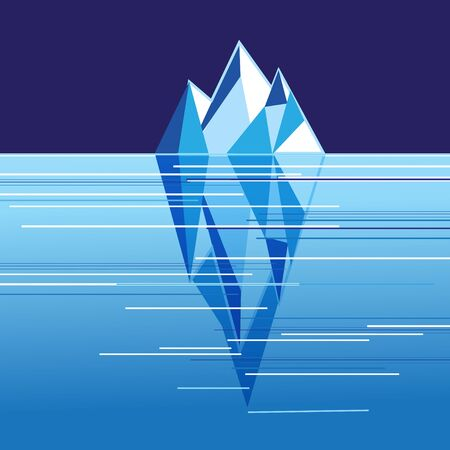 Vector illustration with white iceberg in the ocean. Eco poster about protecting the environment.