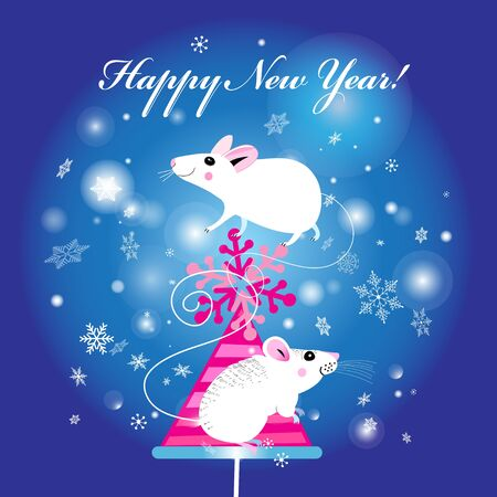 New Years bright greeting card with white mice on a Christmas tree on a blue background with snow Illustration
