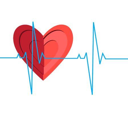 Illustrazione di un encefalogramma cardiaco medico su sfondo bianco.