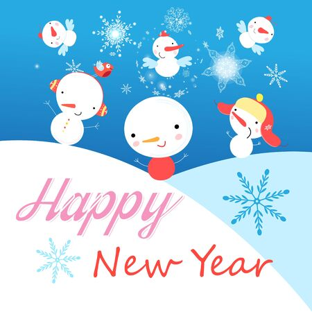 Festive vector New Year card with snowmen on a blue background with snowflakes. Design for postcards, advertisements, or book covers.