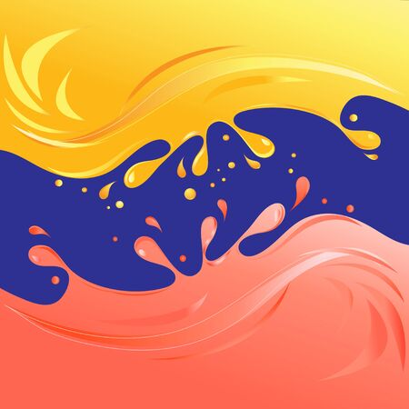 Vector bright yellow citrus and strawberry juices on a dark background. Template for web page or advertising juices.