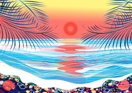 Vector tropical background with palm trees and sunset at sea. Advertise exotic island, beautiful sea and palm trees.