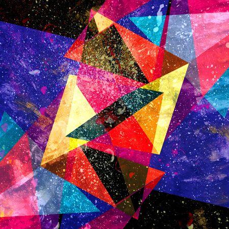 Aquarel abstracte kleurrijke achtergrond met meetkunde elementen. Achtergrond voor ontwerpsjabloon. Stockfoto