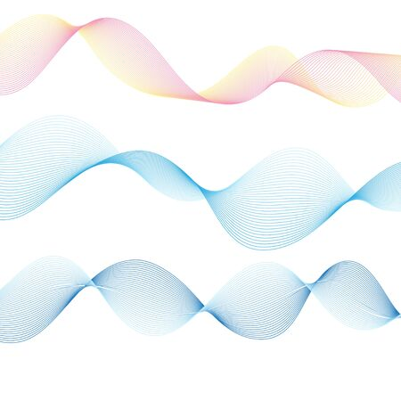 Graphic vector blue waves on an isolated white background. Template elements for web page or poster design. 일러스트