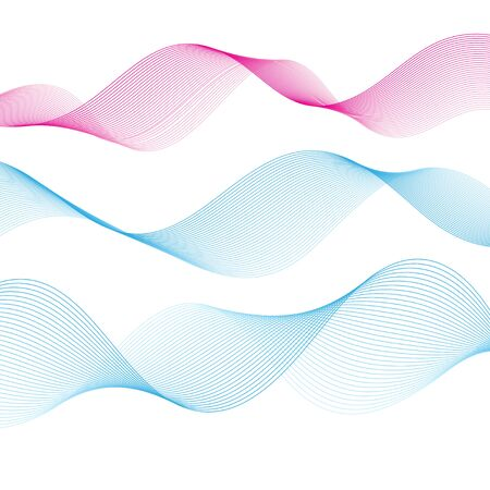 Graphic vector blue waves on an isolated white background. Template elements for web page or poster design.  イラスト・ベクター素材