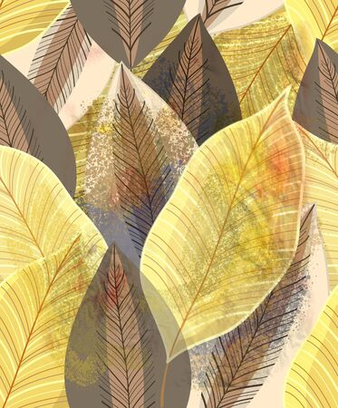 Magnificent multi-colored autumn pattern of gold leaves Stock Photo