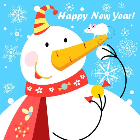 Festive vector greeting card with a big snowman and a mouse on a blue background. Sample design for poster or poster. 免版税图像 - 127823575