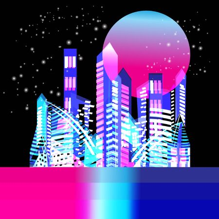 Vector beautiful trendy illuminated city at night with the moon Ilustração