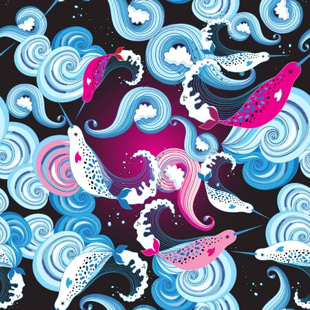 Seamless bright marine pattern with narwhal on ornamental background. Design template for fabric, wallpaper or poster.