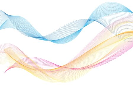 Lovely multicolored vector waves isolated on white background. Wave template for poster or web page design.