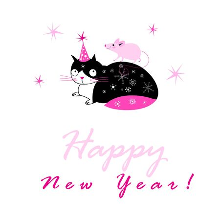 Festive New Year card with a cat and a mouse with congratulations. New Year design template merry holiday card.