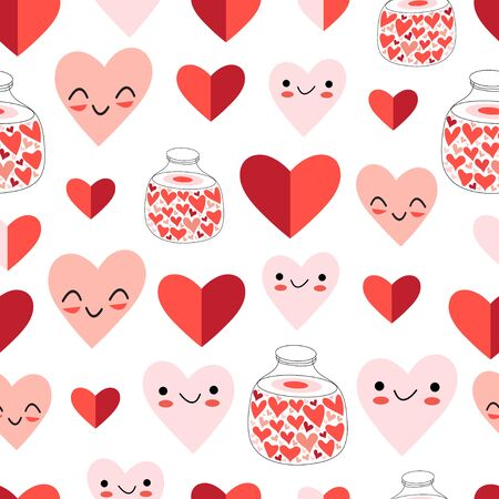 Lovely vector seamless festive pattern of funny hearts on a white background. Pattern for the design of wallpaper, fabric or packaging. Stock Illustratie
