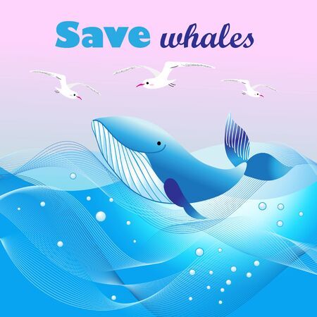 Beautiful vector ecological poster with a whale in the sea