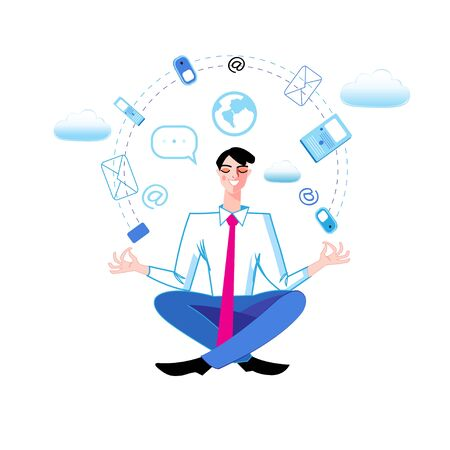 Vector illustration of a manager in a yoga pose in the office. Template design man for business card or web page about office life.