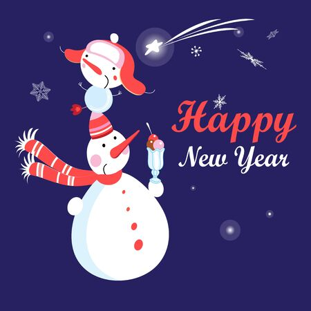 Christmas card vector with funny snowmen on a dark background with snowflakes. Happy New Year greetings.  イラスト・ベクター素材