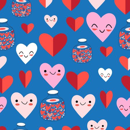 Lovely vector seamless festive pattern of funny hearts on a blue background. Pattern for the design of wallpaper, fabric or packaging.