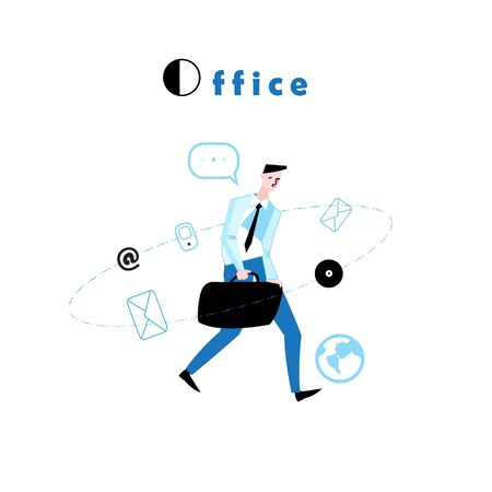 Vector illustration of a walking manager to work in the office. Iollustration on white background for business poster or cover.